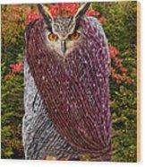 Camouflaged Owl Wood Print
