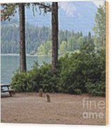Camp By The Lake Wood Print