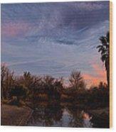Camp Davis River Sunset Wood Print