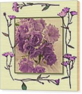 Campanula Framed With Pressed Petals Wood Print