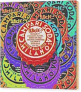 Campari Soda Caps Wood Print by Tony Rubino