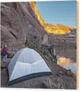 Camping Along The Labyrinth Canyon Wood Print