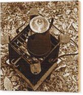 Camping Coffee Wood Print