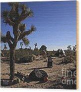 Camping In The Desert Wood Print