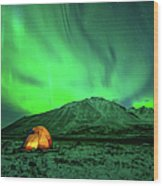 Camping Under Northern Lights Wood Print