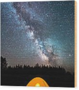 Camping Under The Stars Wood Print