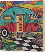 Camping..the Life Wood Print by Carol Hamby