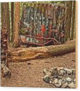 Campsite By The Box Car Wood Print