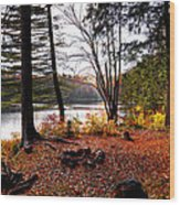 Campsite On Cary Lake Wood Print
