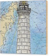 Cana Island Lighthouse Wi Nautical Chart Map Art Wood Print