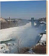 Canada And America At Niagara Falls Wood Print