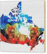 Canada - Canadian Map By Sharon Cummings Wood Print
