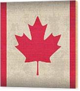 Canada Flag Vintage Distressed Finish Wood Print