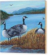 Canada Geese - Lake Lure Wood Print