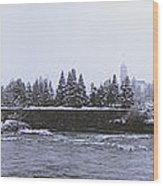 Canada Island And Spokane River Wood Print by Daniel Hagerman