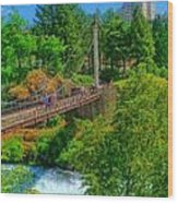 Canada Island Bridge Wood Print by Dan Quam