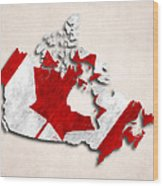 Canada Map Art With Flag Design Wood Print