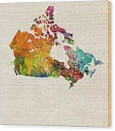 Canada Watercolor Map Wood Print