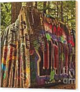 Canadian Box Car In The Forest Wood Print