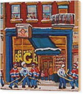 Canadian  Artists Paint Hockey And Montreal Streetscenes Over 500 Prints Available  Wood Print