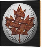 Canadian Bacon Lovers Baseball Square Wood Print by Andee Design