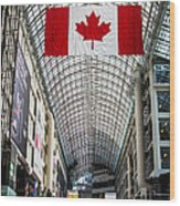 Canadian Flag Over Eaton Center Wood Print