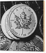 Canadian One Ounce Maple Leaf Silver Coins Wood Print