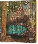 Canadian Pacific Box Car Wreckage Wood Print