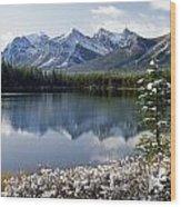 1m3541-canadian Peak Reflected In Herbert Lake Wood Print
