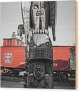 Canadian Totem And Railway Wood Print