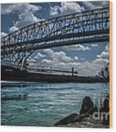 Canadian Tranfer Under Blue Water Bridges Wood Print