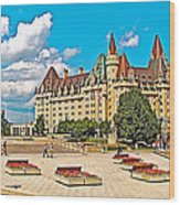 Canadian War Memorial And Chateau Laurier In Ottawa-ontario  Wood Print