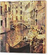 Canal And Docked Gondolas In Venice Wood Print