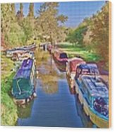 Canal Barges Wood Print