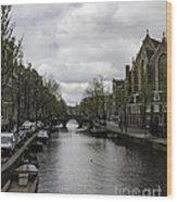 Canal Behind Oude Kerk In Amsterdam Wood Print
