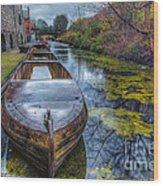 Canal Boat Wood Print