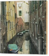 Canal Boats And Reflections Venice Italy Wood Print by Marianne Campolongo
