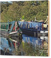 Canal Boats Passing Wood Print