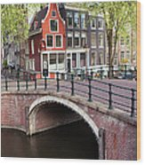 Canal Bridge And Houses In Amsterdam Wood Print
