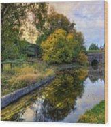 Canal Drifting Leaves Wood Print