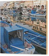Canal In Grado With Fishing Boats Wood Print
