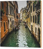Canal In Venice Wood Print