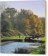 Canal Locks In Autumn Wood Print
