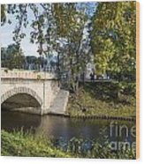 Canal Near Freedom Monument Riga Wood Print