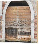 Canalside Weathered Door Venice Italy Wood Print
