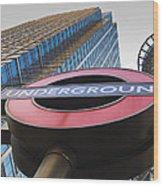 Canary Wharf Tube Sign Wood Print