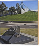 Canberra - Memorial And Parliament House Wood Print