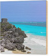 Cancun Ocean Front Wood Print
