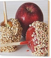 Candied Caramel And Regular Red Apple Wood Print