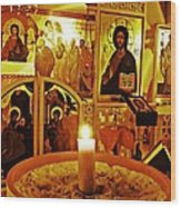Candle And Icons Wood Print